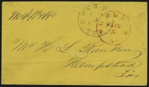Sale Number 840, Lot Number 61, Postmasters ProvisionalsHouston Tex., 5c Red entire (40XU1), Houston Tex., 5c Red entire (40XU1)