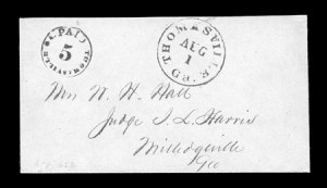 Sale Number 841, Lot Number 1038, Confederate States Postmasters ProvisionalsThomasville Ga., 5c Black entire (82XU2), Thomasville Ga., 5c Black entire (82XU2)