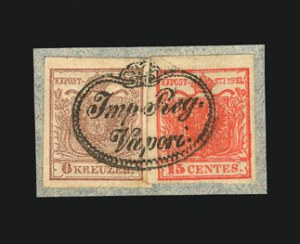 Sale Number 841, Lot Number 1775, Austria (Coat of Arms thru Semi-Postals)1850, 6kr Ty. Ib, Hand-Made Paper (4), 1850, 6kr Ty. Ib, Hand-Made Paper (4)