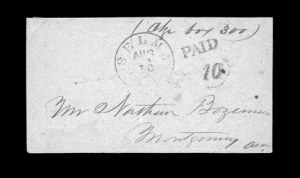 Sale Number 850, Lot Number 5085, Handstamped Paid and Due Markings (Alabama)Selma Ala. Aug. 10, Selma Ala. Aug. 10