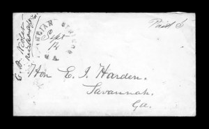 Sale Number 850, Lot Number 5181, Handstamped Paid and Due Markings (Georgia)Indian Springs Ga. Sept. 14, Indian Springs Ga. Sept. 14
