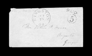 Sale Number 850, Lot Number 5183, Handstamped Paid and Due Markings (Georgia)Kingston Ga. Oct. 24, Kingston Ga. Oct. 24