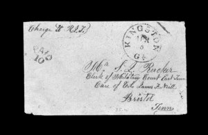 Sale Number 850, Lot Number 5185, Handstamped Paid and Due Markings (Georgia)Kingston Ga. Apr. 5, Kingston Ga. Apr. 5