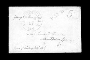 Sale Number 850, Lot Number 5195, Handstamped Paid and Due Markings (Georgia)Milledgeville Ga. Feb. 17, Milledgeville Ga. Feb. 17
