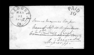 Sale Number 850, Lot Number 5224, Handstamped Paid and Due Markings (Georgia)Valdosta Ga. May 31, 1862, Valdosta Ga. May 31, 1862