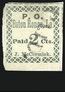Sale Number 850, Lot Number 5667, Postmasters Provisionals (Barnwell C.H. to Beaumont Tex.)Baton Rouge La., 2c Green (11X1), Baton Rouge La., 2c Green (11X1)