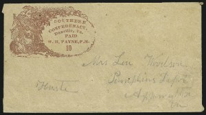 Sale Number 850, Lot Number 5690, Postmasters Provisionals (Dalton to Emory)Danville Va., 10c Red on dark Buff, entire (Unlisted), Danville Va., 10c Red on dark Buff, entire (Unlisted)