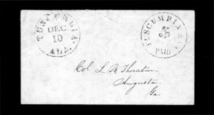 Sale Number 850, Lot Number 5796, Postmasters Provisionals (Statesville to Unionville)Tuscumbia Ala., 5c Black entire (84XU1), Tuscumbia Ala., 5c Black entire (84XU1)