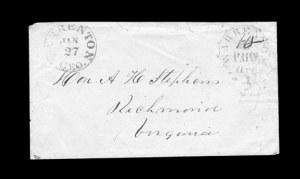Sale Number 850, Lot Number 5801, Postmasters Provisionals (Walterborough to Winnsborough)Warrenton Ga., 10c (ms.) on 5c Black entire (89XU2), Warrenton Ga., 10c (ms.) on 5c Black entire (89XU2)