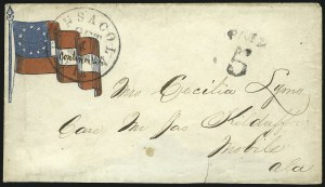 Sale Number 850, Lot Number 5844, Stampless Patriotic Covers (by state)Pensacola Fla. Oct. 4, Pensacola Fla. Oct. 4