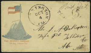 Sale Number 850, Lot Number 5845, Stampless Patriotic Covers (by state)Warrington Fla. Oct. 4, Warrington Fla. Oct. 4