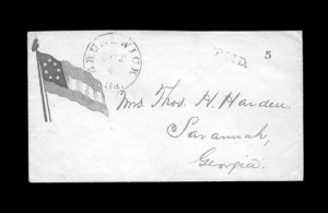 Sale Number 850, Lot Number 5846, Stampless Patriotic Covers (by state)Brunswick Ga. Oct. 4, Brunswick Ga. Oct. 4