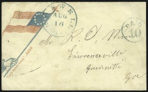 Sale Number 850, Lot Number 5850, Stampless Patriotic Covers (by state)Roswell Ga. Aug. 16, Roswell Ga. Aug. 16