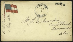 Sale Number 850, Lot Number 5853, Stampless Patriotic Covers (by state)Austin Miss. Feb. 4, Austin Miss. Feb. 4