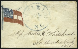 Sale Number 850, Lot Number 5860, Stampless Patriotic Covers (by state)Enfield N.C. Jul. 16, Enfield N.C. Jul. 16