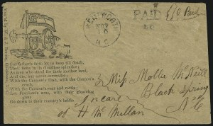 Sale Number 850, Lot Number 5861, Stampless Patriotic Covers (by state)Wentworth N.C., 10c on 5c Black, entire (Unlisted), Wentworth N.C., 10c on 5c Black, entire (Unlisted)