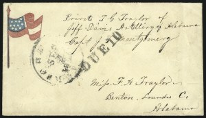 Sale Number 850, Lot Number 5866, Stampless Patriotic Covers (by state)Richmond Va. Sept. 4, 186?, Richmond Va. Sept. 4, 186?