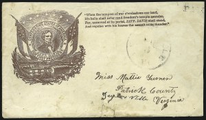 Sale Number 850, Lot Number 5873, Stampless Patriotic Covers (by state)Wytheville Va. Aug. 3, Wytheville Va. Aug. 3