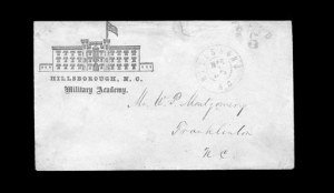 Sale Number 850, Lot Number 5898, College Covers (by state)Hillsboro N.C. Mar. 1, 1862, Hillsboro N.C. Mar. 1, 1862