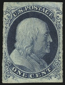 Sale Number 851, Lot Number 12, 1c 1851 Issue1c Blue, Ty. III (8), 1c Blue, Ty. III (8)