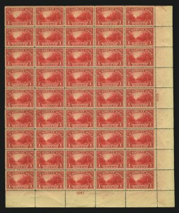 Sale Number 852, Lot Number 1616, Complete Panes, including the unique pane of 45 of Q12$1.00 Parcel Post (Q12), $1.00 Parcel Post (Q12)