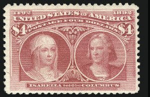Sale Number 852, Lot Number 772, 1893 Columbian Issue ($4.00)$4.00 Rose Carmine, Columbian (244a), $4.00 Rose Carmine, Columbian (244a)