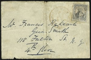 Sale Number 853, Lot Number 2555, Carrier Department IssuesU.S. City Despatch Post, New York N.Y., 3c Black on Grayish (6LB1), U.S. City Despatch Post, New York N.Y., 3c Black on Grayish (6LB1)