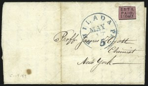 "Sale Number 853, Lot Number 2578, Carrier Department IssuesU.S.P.O., Philadelphia Pa., 1c Black on Rose, ""L S"" (7LB4), U.S.P.O., Philadelphia Pa., 1c Black on Rose, ""L S"" (7LB4)"