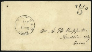 Sale Number 853, Lot Number 2796, Confederate Handstamped Paid and Due MarkingsBrenham Texas Jan. 2, 1862, Brenham Texas Jan. 2, 1862