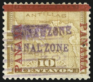 "Sale Number 856, Lot Number 517, Canal Zone (Scott 2-3)1904, 10c Yellow, ""Canal Zone"" Double (3b), 1904, 10c Yellow, ""Canal Zone"" Double (3b)"