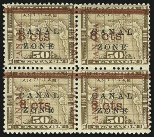 "Sale Number 856, Lot Number 535, Canal Zone (Scott 14)1904. 8c on 50c Bister Brown, ""Panama"" Ovpt. in Rose Brown, ""Zone"" in Antique Type (14e), 1904. 8c on 50c Bister Brown, ""Panama"" Ovpt. in Rose Brown, ""Zone"" in Antique Type (14e)"