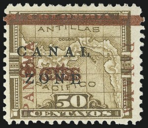 "Sale Number 856, Lot Number 536, Canal Zone (Scott 14)1904, 8c on 50c Bister Brown, ""Panama"" Ovpt. in Rose Brown, ""8cts"" Double (14f), 1904, 8c on 50c Bister Brown, ""Panama"" Ovpt. in Rose Brown, ""8cts"" Double (14f)"