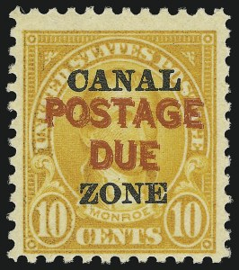 "Sale Number 856, Lot Number 664, Canal Zone (Postage Due)1925, 10c Orange, Postage Due, ""Postage Due"" Double (J17a), 1925, 10c Orange, Postage Due, ""Postage Due"" Double (J17a)"