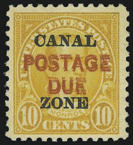 "Sale Number 856, Lot Number 665, Canal Zone (Postage Due)1925, 10c Orange, Postage Due, ""Postage Due"" Double (J17a), 1925, 10c Orange, Postage Due, ""Postage Due"" Double (J17a)"