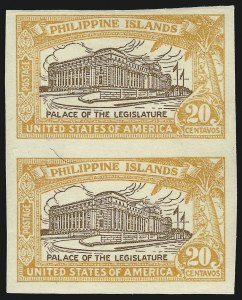 Sale Number 856, Lot Number 876, Philippines (Scott 319b-325a)1926, 20c Orange & Brown, Imperforate Pair (323c), 1926, 20c Orange & Brown, Imperforate Pair (323c)