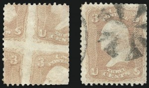Sale Number 859, Lot Number 19, 1861-66 Issue 3c Rose, Printed on Both Sides (65e), 3c Rose, Printed on Both Sides (65e)