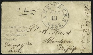 Sale Number 860, Lot Number 434, The Sam Zimmerman Jr. Collection - Handstamped Paid and Due MarkingsAberdeen Miss. Mar. 13, Aberdeen Miss. Mar. 13