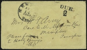 Sale Number 860, Lot Number 483, The Sam Zimmerman Jr. Collection - Handstamped Paid and Due MarkingsMemphis Ten. Apr. 14, 1862, Memphis Ten. Apr. 14, 1862