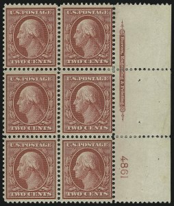 Sale Number 861, Lot Number 1966, Plate Blocks (Scott 331 thru 384)1c Green, 2c Carmine, Bluish (357, 358), 1c Green, 2c Carmine, Bluish (357, 358)