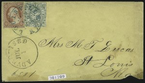 Sale Number 862, Lot Number 100, Spence & BrownSquier & Co. City Letter Dispatch, St. Louis Mo., 1c Green, Imperforate (132L1), Squier & Co. City Letter Dispatch, St. Louis Mo., 1c Green, Imperforate (132L1)