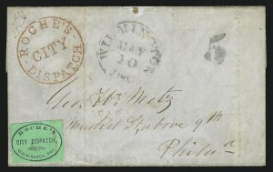 Sale Number 862, Lot Number 94, Metropolitan Post Office thru RussellRoche's City Dispatch, Wilmington Del., (2c) Black on Green Glazed (129L1), Roche's City Dispatch, Wilmington Del., (2c) Black on Green Glazed (129L1)