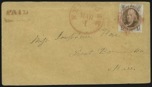 Sale Number 863, Lot Number 222, 1847 Issue On Cover5c Red Brown (1), 5c Red Brown (1)