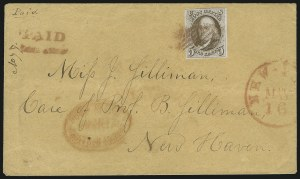 Sale Number 863, Lot Number 223, 1847 Issue On Cover5c Red Brown (1), 5c Red Brown (1)