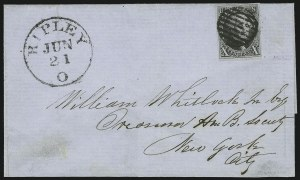 Sale Number 863, Lot Number 224, 1847 Issue On Cover10c Black (2), 10c Black (2)