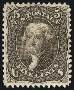 Sale Number 863, Lot Number 324, 1861-66 Issue (Scott 72 to 78a)5c Brown (76), 5c Brown (76)