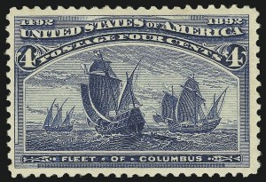 Sale Number 863, Lot Number 505, 1893 Columbian Issue (Scott 233a to 245)4c Columbian, Error of Color (233a), 4c Columbian, Error of Color (233a)