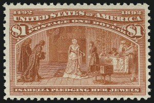 Sale Number 863, Lot Number 509, 1893 Columbian Issue (Scott 233a to 245)$1.00 Columbian (241). Mint N.H, $1.00 Columbian (241). Mint N.H