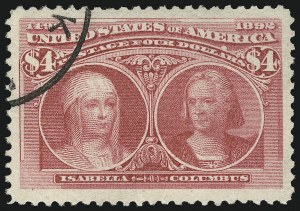 Sale Number 863, Lot Number 514, 1893 Columbian Issue (Scott 233a to 245)$4.00 Columbian (244), $4.00 Columbian (244)