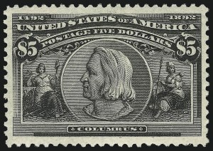 Sale Number 863, Lot Number 515, 1893 Columbian Issue (Scott 233a to 245)$5.00 Columbian (245), $5.00 Columbian (245)