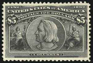 Sale Number 863, Lot Number 516, 1893 Columbian Issue (Scott 233a to 245)$5.00 Columbian (245), $5.00 Columbian (245)